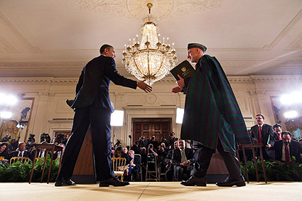 President Obama & Afghan President Karzai Press Conference Photo Print