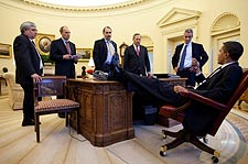 President Obama and Aides Meeting in Oval Office Photo Print for Sale