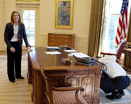President Obama and Caroline Kennedy in the Oval Office Photo Print
