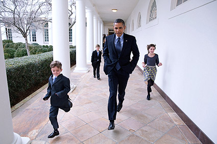President Obama and Children on White House Colonnade Photo Print