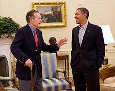 President Obama and George H.W. Bush in Oval Office Photo Print for Sale