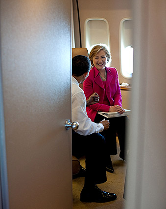 President Obama and Hillary Clinton on Air Force One Photo Print