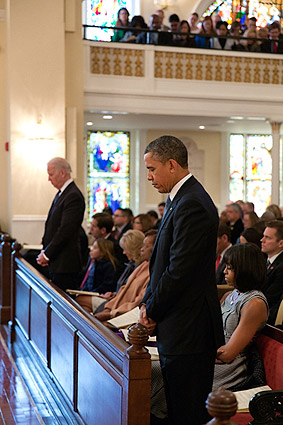President Obama and Michelle at Inaugural Prayer Service Photo Print