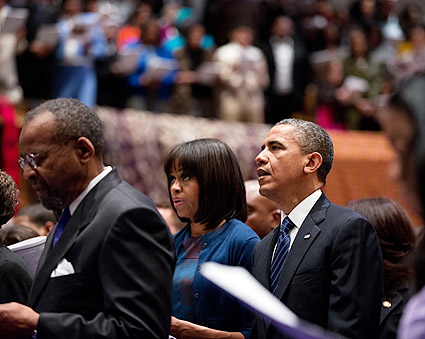 President Obama and Michelle Obama at Church Service  Photo Print