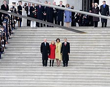 Obamas and Bidens on Capitol Steps after Inauguration Photo Print for Sale