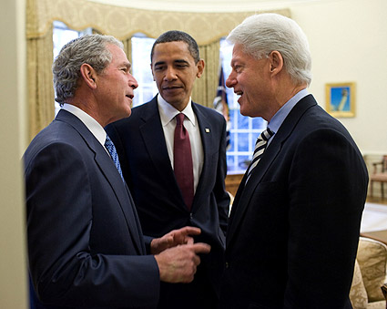 President Obama, Bush, and Clinton in Oval Office 2010 Photo Print