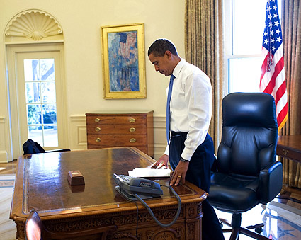 President Obama First Day in Oval Office Photo Print