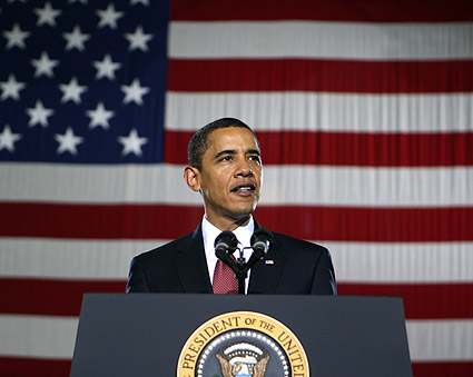 President Obama Gives Speech at Camp Lejeune Photo Print