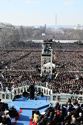 President Obama Inaugural Address to Crowd 2009 Photo Print