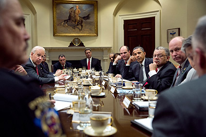 President Obama, Joe Biden, and Advisors Meeting Photo Print