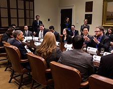 President Obama Meets With Presidential Innovation Fellows Photo Print for Sale