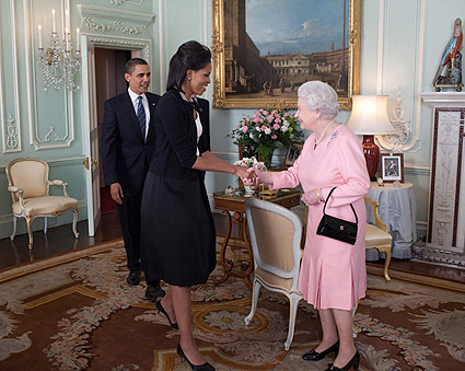 President Obama, Michelle Obama and Queen Elizabeth Photo Print