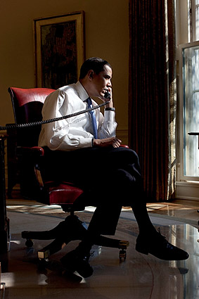 President Obama Phone Call with Iraqi Prime Minister 2009 Photo Print