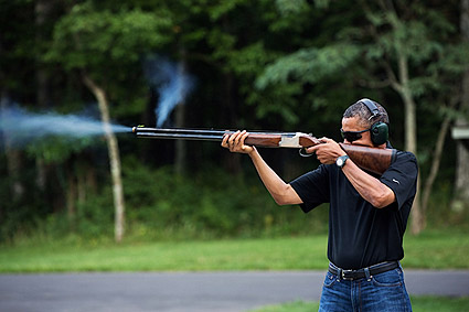 President Obama Skeet Shooting at Camp David 2012 Photo Print
