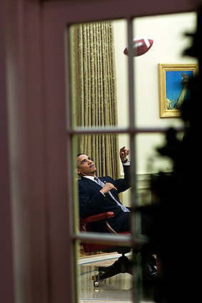 President Obama Throws Football in Oval Office Photo Print