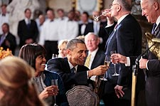 President Obama Toasts with Vice President Joe Biden Photo Print for Sale