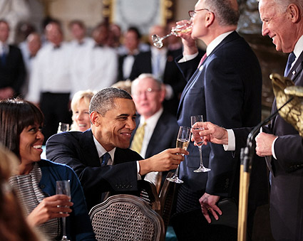 President Obama Toasts with Vice President Joe Biden Photo Print