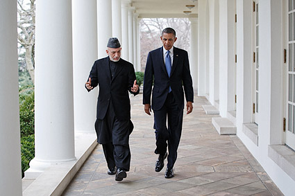 President Obama with Afghan President Karzai Photo Print