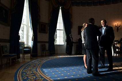 President Obama with Speaker John Boehner at White House Photo Print