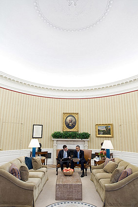 President Obama with Speechwriter in Oval Office Photo Print