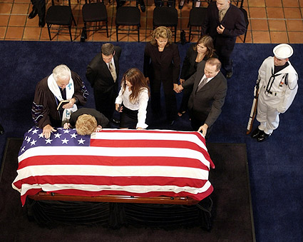 President Reagan Funeral Nancy w/ Casket Photo Print