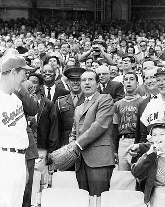 President Richard Nixon Tossing Baseball Photo Print