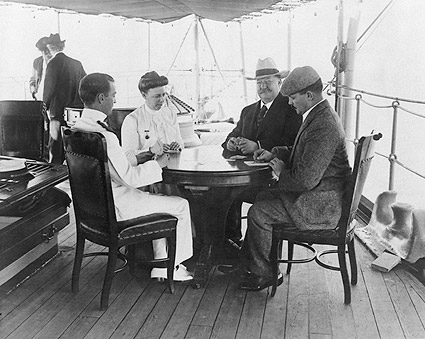 President Taft & Wife Playing Cards on Boat Photo Print