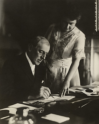 President Woodrow Wilson at Desk with Wife Edith Photo Print