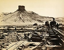 Railroad Construction Citadel Rock Wyoming Photo Print for Sale