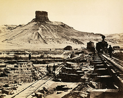 Railroad Construction Citadel Rock Wyoming Photo Print