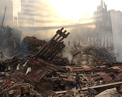 Rescue Worker Among Ruins 9/11 Photo Print