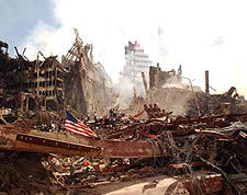 Rescue Workers and America Flag 9/11 Photo Print for Sale