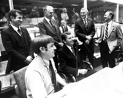 Ronald Reagan at Mission Control Photo Print
