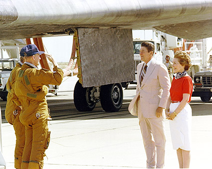 Ronald Reagan Saluted by Shuttle Crew Photo Print