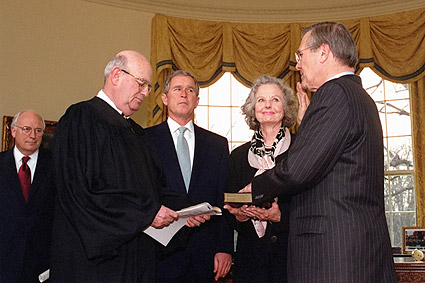 Rumsfeld Sworn In George W. Bush & Cheney Photo Print