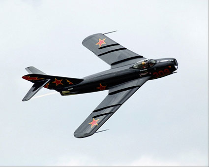 Russian MiG-17 Fighter Jet in Flight Photo Print