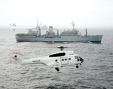 SA-330 Puma Helicopter w/ USNS Sirius Photo Print for Sale
