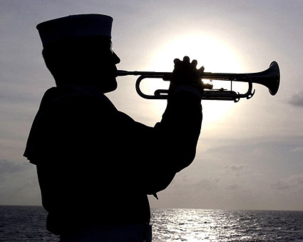 Sailor Plays Taps on Trumpet Navy Photo Print