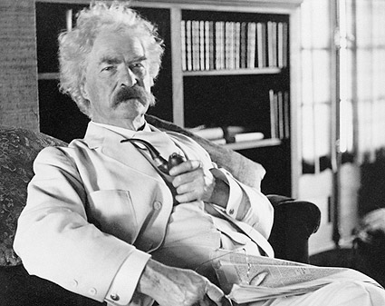 Samuel Clemens aqua Mark Twain Portrait Photo Print