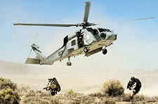 SH-60 Seahawk Helicopter Drops Navy Seals Photo Print for Sale