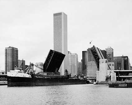 Ship in Lake Michigan at a Chicago River Bascule Bridge Photo Print
