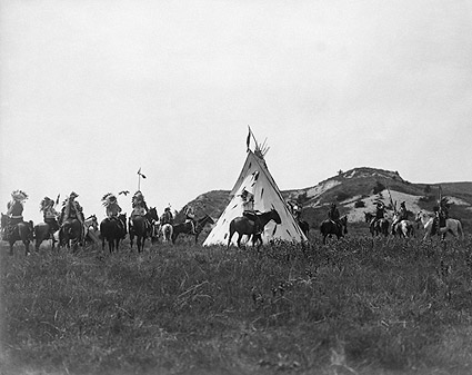 Sioux Indians & Teepee, Edward S. Curtis Photo Print