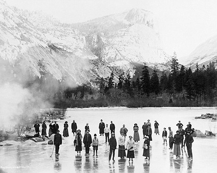 Skaters on Mirror Lake, Yosemite National Park 1911 Photo Print