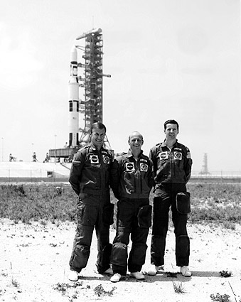 Skylab 2 Prime Crew & Saturn V Rocket Photo Print
