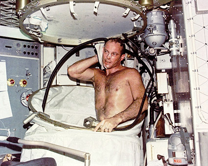 Skylab Astronaut Jack R Lousma Taking Bath Photo Print