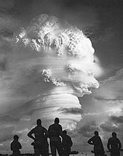 Soldiers Observe Atomic Bomb Detonation Photo Print for Sale