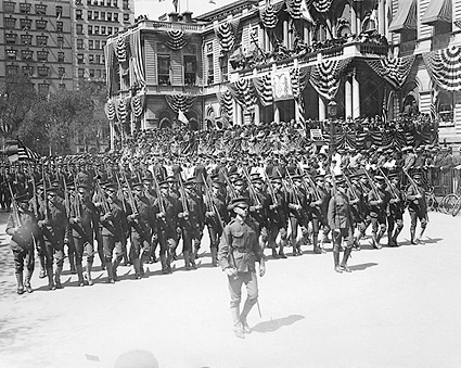 Soldiers Pass Patriotic NYC City Hall 1908 Photo Print