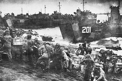 Soldiers Unload Navy Landing Craft at Iwo Jima WWII Photo Print