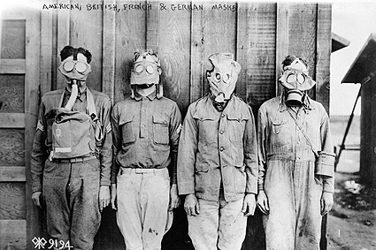 Soldiers Wearing Gas Masks Demonstration Photo Print
