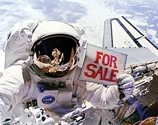 Space Shuttle Astronaut Dale Gardner with 'For Sale' Sign Photo Print for Sale